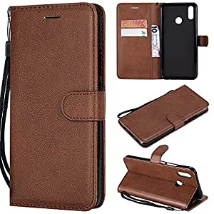2019 Phone Case Or Cover for Huawei P Smart Plus/Nova 3i, Solid Color Premium Quality PU Leather Flip Wallet Stand Case with Wrist Strap (Color : Brown)
