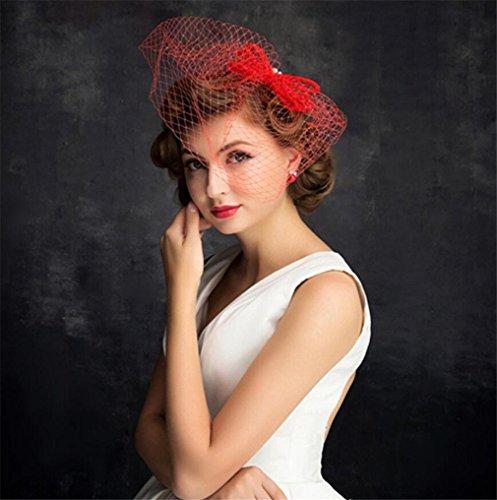 ELEGENCE-Z European Fascinator Handmade Lace Bow Headdress Royal Party Hat (Red)