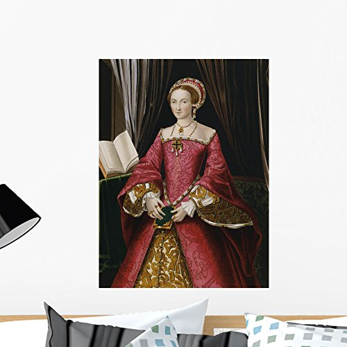Wallmonkeys Portrait Print After Elizabeth Tudor Hans Holbein Wall Decal Peel and Stick Graphic WM84340 (24 in H x 18 in W)