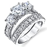 Sterling Silver Past Present Future Bridal Set Engagement Wedding Ring Band W/Cubic Zirconia CZ 8