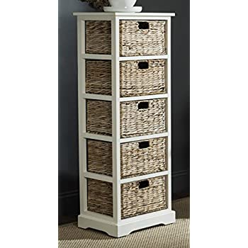 Safavieh American Homes Collection Vedette Distressed White 5 Wicker Basket  Storage Tower