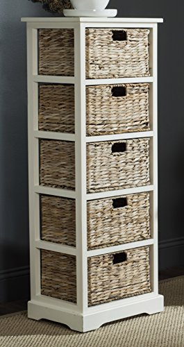 (Safavieh American Homes Collection Vedette Distressed White 5 Wicker Basket Storage Tower)