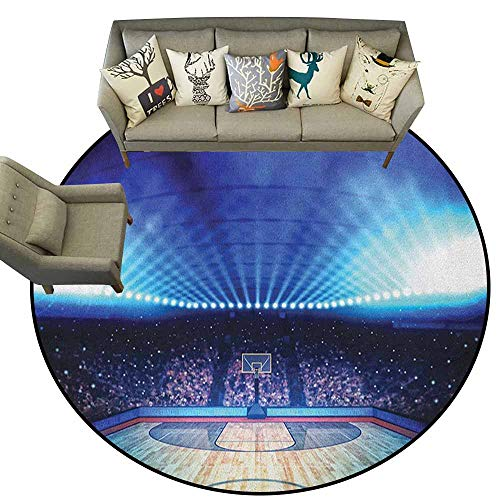 Hedda Clare Round Area Rug,Basketball,Basketball Arena Court with Fans and Competition Theme Game Excitement Print, Navy Black,for Kitchen Floor Bathroom3 feet (Court Octagonal Rug)