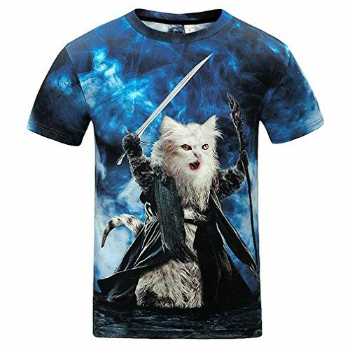Cats T-shirt Men/Women 3d Print Meow Star Cat Hip Hop Cartoon TShirts Summer Tops Tees Fashion 3d shirts Asian (Johnny Cash Costume)