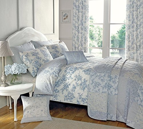 Toile King Comforter - FLORAL TOILE PATCHWORK BLUE USA QUEEN SIZE (230CM X 220CM - UK KING SIZE) COTTON BLEND REVERSIBLE DUVET COMFORTER COVER SET