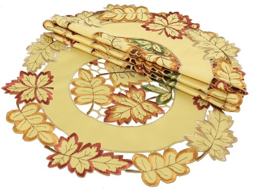 Xia-Home-Fashions-Bountiful-Leaf-Embroidered-Cutwork-Round-Harvest-Fall-Placemats-16-Inch-Set-of-4