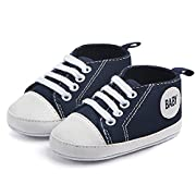 Qiyuxow Prewalker Newborn Baby Soft Sole Canvas Sneaker Infant Toddler First Walkers Shoes 0-6-18 Months (11(Suggest 0-6 Months), Navy Blue)