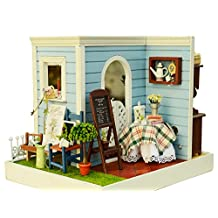 DIY Wooden Miniature Dollhouse Kit--Room corner Model with Furniture/LED Light