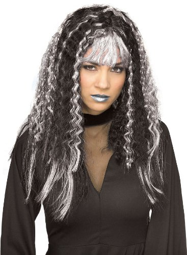 [Rubie's Costume Sinister Crimped Witch Wig, Black/Silver, One Size] (Hair For A Vampire Costume)