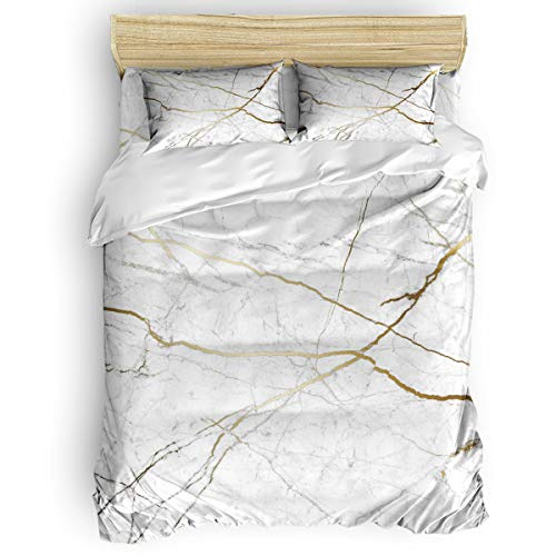 SODIKA Bedding 4 Piece Duvet Cover Set, Luxury Hypoallergenic Comforter Cover with Zipper Closure Gold Marble Full