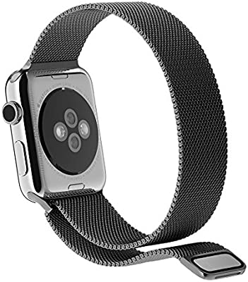 top4cus Metal Loop Stainless Steel Bracelet Strap Replacement Wrist iWatch Band with Magnet Lock 2 Compatible with iWatch Series 4 3 1 and Sport Edition