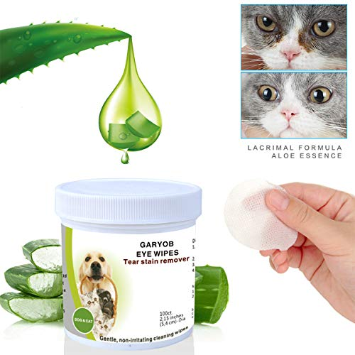 Eye Stain Remover - GARYOB Eye Tear Stain Remover Wipes for Cats & Dogs, Best Natural Eye Crust Treatment for White Fur, 100 Pre Soaked Cotton Pads