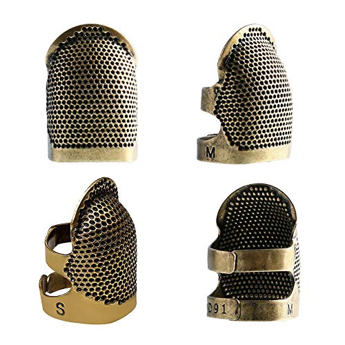 4 Pieces Sewing Thimble, Metal Copper Sewing Thimble Finger Protector Adjustable Finger Shield Ring Fingertip Thimble Sewing Quilting Craft Accessories DIY Sewing Tools(2 Small + 2 Medium)