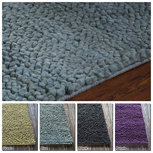 Artist's Loom Hand-Woven Contemporary Abstract Pattern New Zealand Wool Shag Rug (5'x7'6