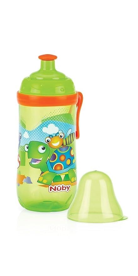 Nuby Pop-Up Sipper - Taza con boquilla de silicona y tapa protectora higiénica, 18+ meses, 360 ml: Amazon.es: Bebé