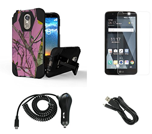 LG Stylo 3 - Accessory Bundle with Slim [Dual Layer] Rugged Kickstand Case - (Pink Camo), Atom LED, Tempered Glass Screen Protector, Sync & Charge Micro USB Cable and 2.1A Car Charger