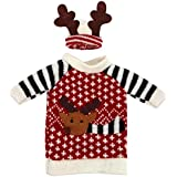 Set of 2 Christmas Reindeer Knitted Sweaters for Wine or Champane Bottle Covers