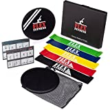 Exercise Sliders & Resistance Bands for Home Workouts | Set of 2 Workout Sliders for Intense Core & Abs Workout | Set of 5 Professional Strength Loop Workout Bands for Low Impact Bodyweight Training