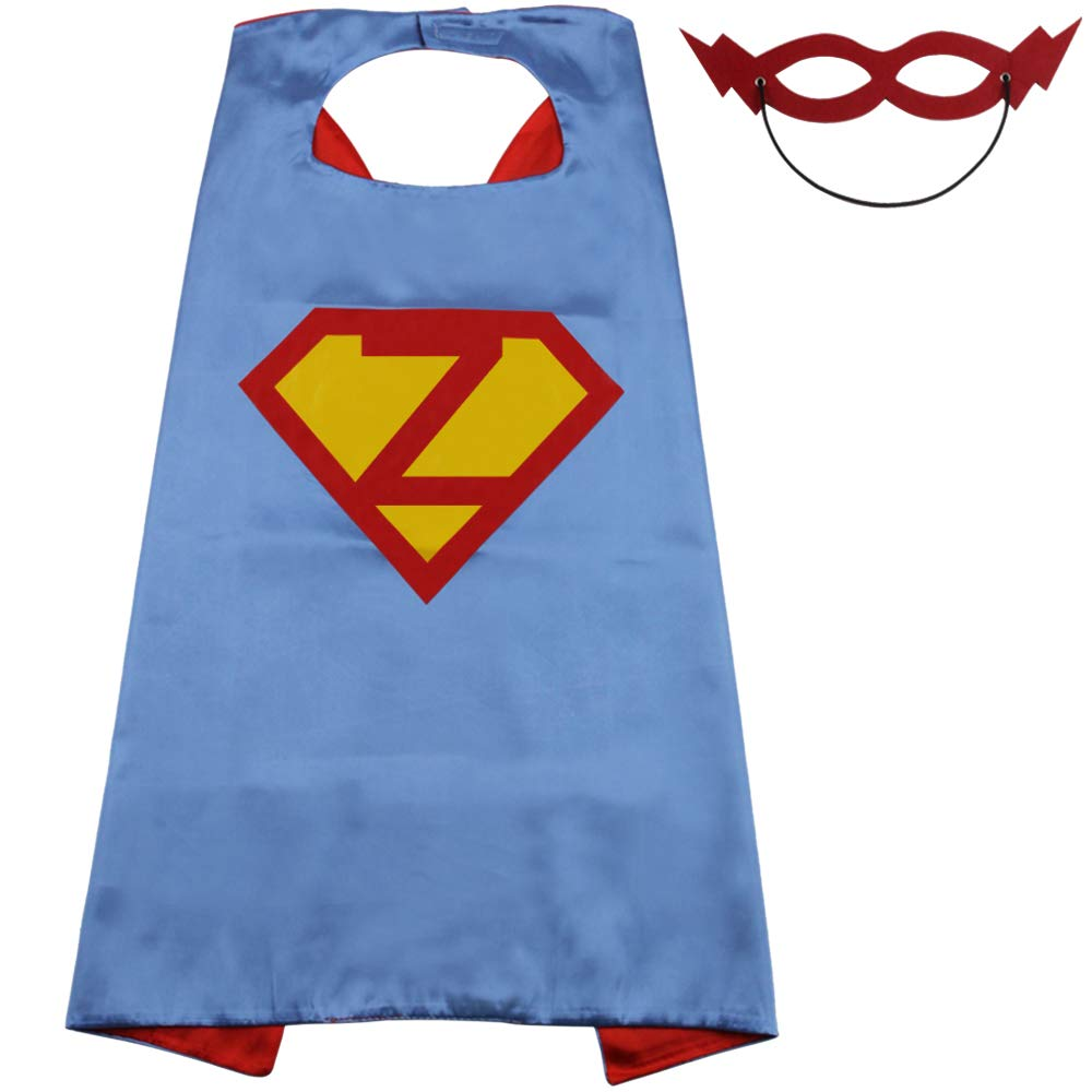 LYNDA SUTTON Superhero Capes for Kids with 22 Letters Initials Capes - Blue and Red - 27.5 by 27.5 Cape-H)