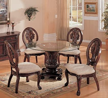 Amazon.com 5pc dining table & chairs set with detail carvings