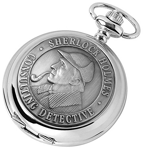 Woodford Mens Sherlock Holmes Chrome Plated Full Hunter Quartz Pocket Watch - Silver
