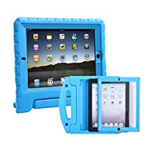 HDE iPad 2 3 4 Bumper Case for Kids Shockproof Hard Cover Handle Stand with Built in Screen Protector for Apple iPad 2nd 3rd 4th Generation (Blue)