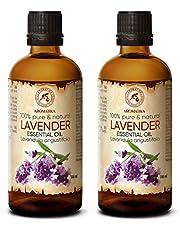 Lavendel olie SET - etherische olie 2x 100ml, 100% puur & natuurlijk, essentiële olie - aromatherapie - geurolie - geurverspreider - ontspanning - toevoegen aan bad & cosmetica - massage - wellness - aroma lamp of elektrische diffuser