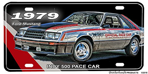 BrotherhoodProducts 1979 Ford Mustang Indy 500 Pace Car Aluminum License Plate ()