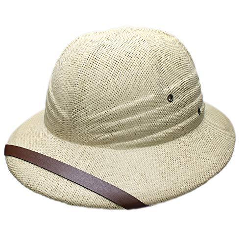 Novelty Women's Men's Hard Straw Helmet Pith Sun Hats for Army Boater Bucket Hats Safari Jungle Miners Cap Beige