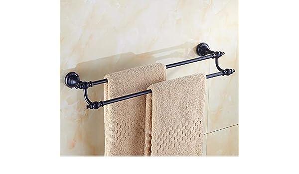 Toallero de pared multifunción, toallero de baño, toallero de barra para cocina, percha de toalla, marco doble europeo negro cepillado con gancho de cobre vintage para colgar toallas de baño: Amazon.es: Hogar