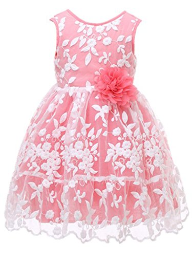 Bow Dream Rustic Flower Girl Dress Bridesmaid Lace Coral 4 ()