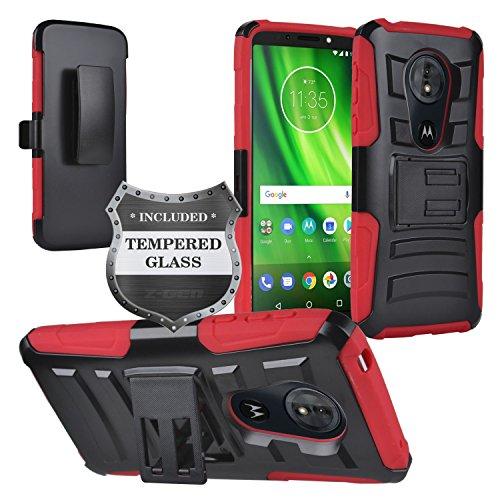 Z-GEN - Motorola Moto G6 Play, Moto G6 Forge XT1922, Moto E5 (5.7) XT1920DL - Hybrid Armor Case w/Stand/Belt Clip Holster + Tempered Glass Screen Protector - CV1 Red
