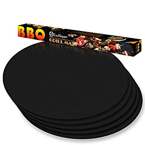LauKingdom Round BBQ Grill Mats, 15 inch Set of 5 Non-stick Reusable Easy-clean Grilling Mat