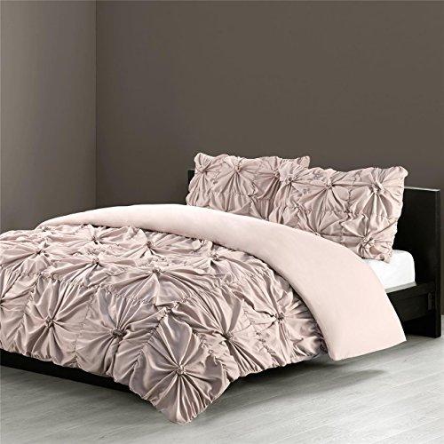 Tufted Comforter (N Natori Jolee King Size Bed Comforter Set - Khaki, Knotting Wrinkled – 3 Pieces Bedding Sets – Ultra Soft Microfiber Bedroom Comforters)