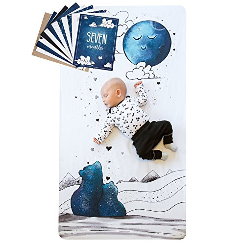 Baby Milestone Cards and Crib Sheet Set - 1 Crib Sheet, 12 Cards, 24 Milestones - Original Designs by JumpOff Jo - to The Moon Series - Mama Bear Blue