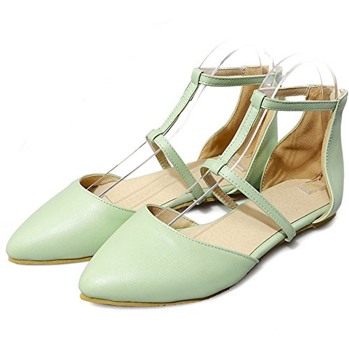 LongFengMa Elegant Ladies Solid Pointed Toe Zipper Flats Sandals Shoes Green nmmbUH