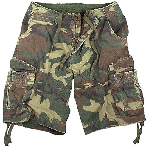 Bellawjace Clothing Woodland Camouflage Vintage Army Infantry Military Utility Cargo Shorts