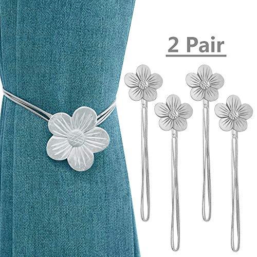 2 Pair Magnetic Curtain Tiebacks, Decorative Convenient Drape Tie Backs Holdback for Window Home D¨¦cor Bedroom Outdoor…