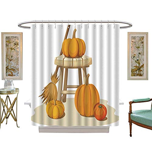 Iuvolux Polyester Fabric BathroomStill Life with Pumpkins and a Wooden Stool Vector Illustration Shower Curtain Set with Hooks W69 x H70 ()