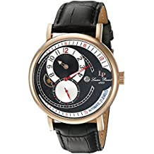 Lucien Piccard Men's 'Supernova' Automatic Stainless Steel and Black Leather Casual Watch (Model: LP-15157-RG-01)