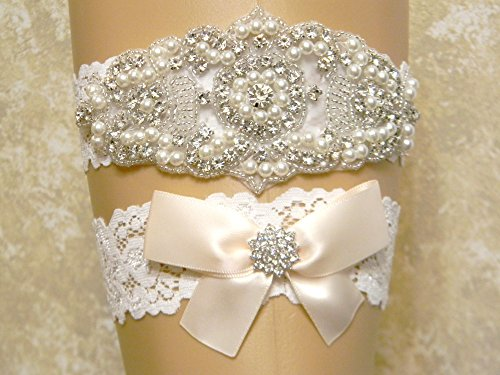 Light Champagne Wedding Garter Set, Bridal Garter Belt, Pearl and Crystal Rhinestone Keepsake and Toss Garter Set, Lace Garters, MORE COLORS by PCB Studio