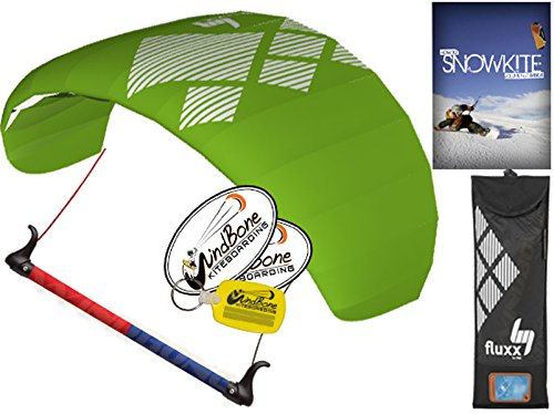 HQ4 Fluxx 1.8M Trainer Kite TR plus Snowkiting DVD Bundle (4 items) Includes How To Snowkite Instructional DVD + WindBone Kite Lifestyle Decals + WindBone Key Chain : Snow Kite Foil Traction