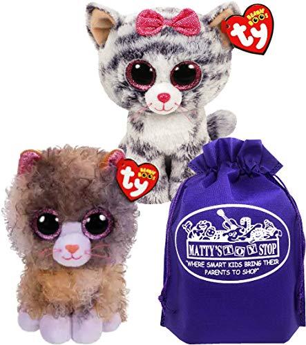 Ty Beanie Boos Cats Scrappy & Kiki Gift Set Bundle with Bonus Matty's Toy Stop Storage Bag - 2 Pack
