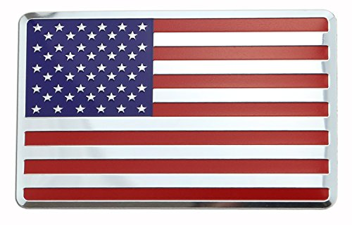 USA American Embossed Metal Flag for Cars, Trucks (3.12 x 2, Color flag)