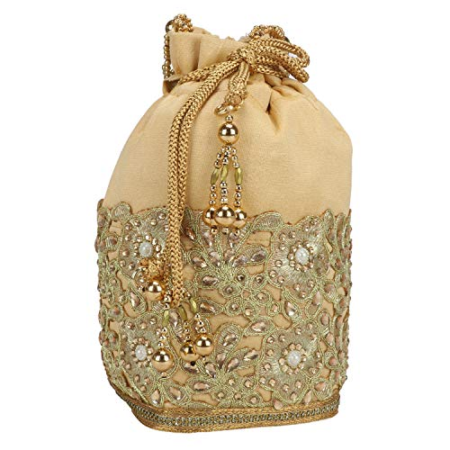 Fancy Haat Silk Ethnic Rajasthani Women's Potli Bag (Golden)