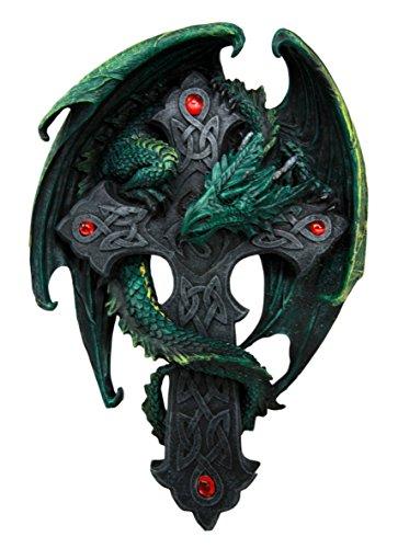 Celtic Knotwork Altar Drake Dragon Crucifix Wall Mount Sculpture Plaque Figurine (Long Halloween Sequel)