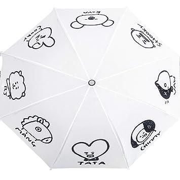 ZChun Paraguas diseño de Estrella del Mismo Estilo de Dibujos Animados, para niñas, Sol, Lluvia, Paraguas para BTS Bangtan, Blanco, 25 cm: Amazon.es: Hogar