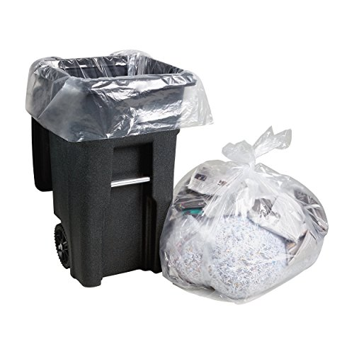 "95-100 Gallon Clear Trash Bags, Large Plastic Garbage Bags, 25/Count, 61""W x 68""H."