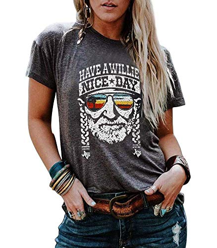 - MOMOER Have a Willie Nice Day Shirt Women Vintage Cactus Graphic Tees Willie Nelson Short Sleeve Summer Top T-Shirt (Gray, L)