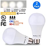 AmeriLuck LED 3-Way Light Bulb, 50-100-150W Equivalent, Soft Warm White, 800-1500-2200+Lumens, Lo-Me-Hi 7-14-20W, CRI 80+, Omni-Directional A21-UL Listed (2700K | 2 Pack)
